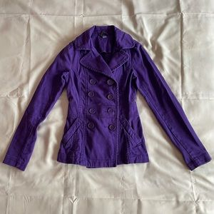 h&m- purple fitted long sleeve basic peacoat